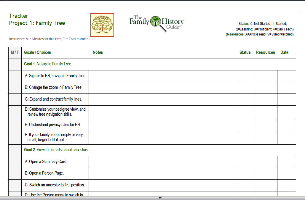using the family history guide trackers with your family the