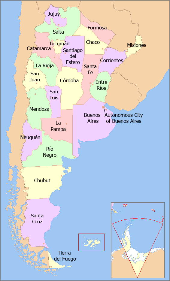 The Family History Guide - Argentina landmarks map