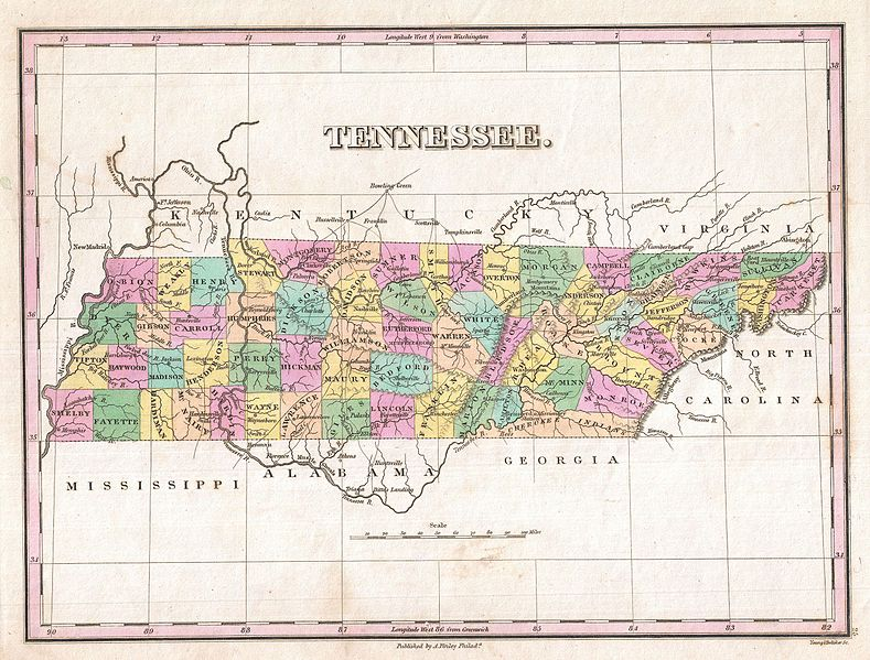 Map Of Us Tennessee.The Family History Guide